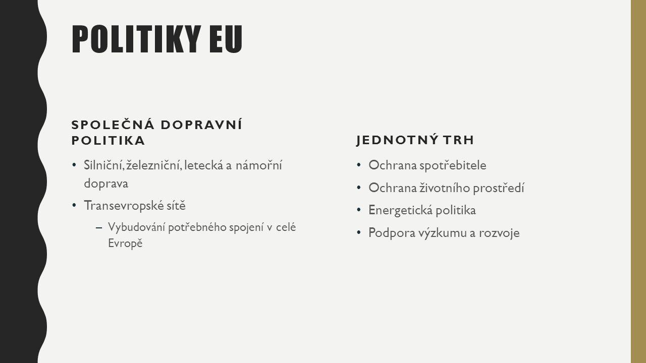 POLITIKY EU SPOLEČNÁ DOPRAVNÍ POLITIKA Silniční, železniční, letecká a námořní doprava Transevropské sítě –Vybudování potřebného spojení v celé Evropě JEDNOTNÝ TRH Ochrana spotřebitele Ochrana životního prostředí Energetická politika Podpora výzkumu a rozvoje