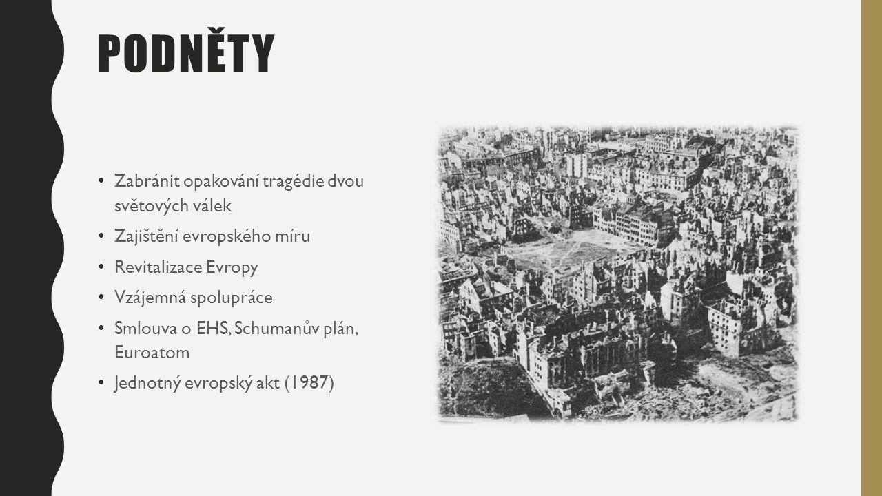 POSTUPNÝ ROZVOJ 25.3.1957 - Francie, Německo, Benelux, Itálie 1.1.1973 - Velká Británie, Irsko, Dánsko 1.1.1981 - Řecko 1.1.1986 - Španělsko, Portugalsko 1.1.1995 - Švédsko, Finsko, Rakousko 1.5.2004 - Česká republika, Estonsko, Kypr, Litva, Lotyšsko, Maďarsko, Malta, Polsko, Slovensko, Slovinsko