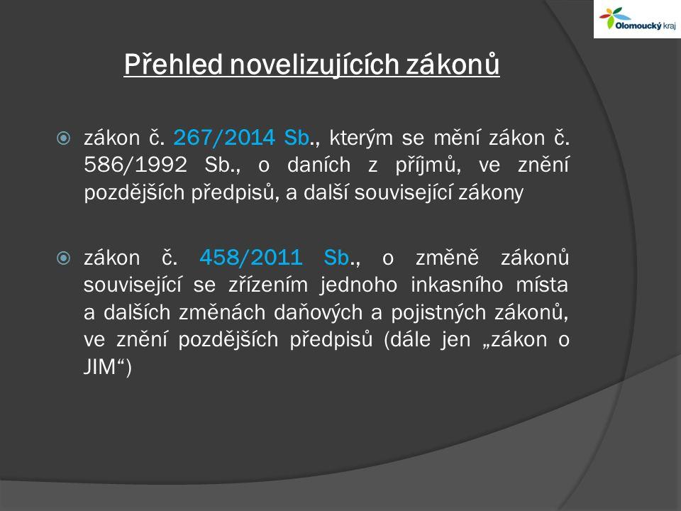 Přehled novelizujících zákonů  zákon č. 267/2014 Sb., kterým se mění zákon č.