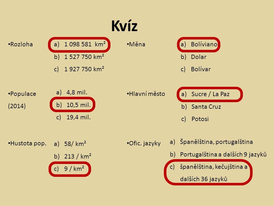 Kvíz Rozloha Populace (2014) Hustota pop.