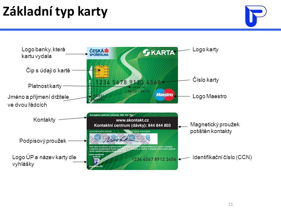 11 Základní typ karty Logo banky, která kartu vydala Čip s údaji o kartě Platnost karty Jméno a příjmení držitele ve dvou řádcích Logo karty Logo Maes