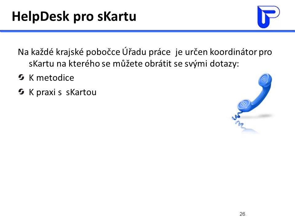 26. HelpDesk pro sKartu Na každé krajské pobočce Úřadu práce je určen koordinátor pro sKartu na kterého se můžete obrátit se svými dotazy: K metodice