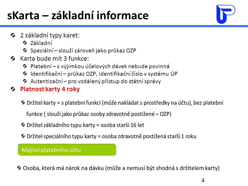 4 sKarta – základní informace 2 základní typy karet: Základní Speciální – slouží zároveň jako průkaz OZP Karta bude mít 3 funkce: Platební – s výjimko