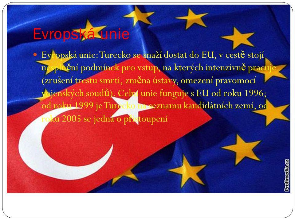 Evropská unie Evropská unie: Turecko se snaží dostat do EU, v cest ě stojí nespln ě ní podmínek pro vstup, na kterých intenzivn ě pracuje (zrušení tre