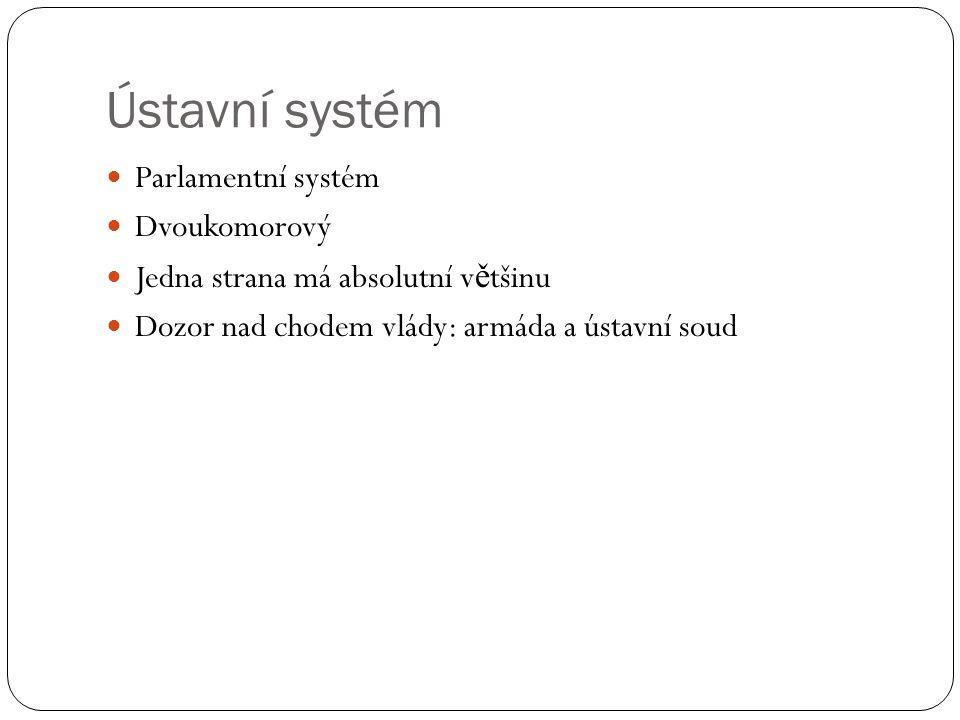 Ústavní systém Parlamentní systém Dvoukomorový Jedna strana má absolutní v ě tšinu Dozor nad chodem vlády: armáda a ústavní soud