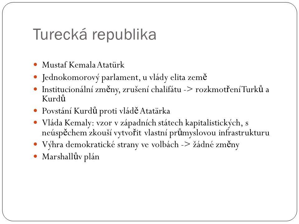 Turecká republika Mustaf Kemala Atatürk Jednokomorový parlament, u vlády elita zem ě Institucionální zm ě ny, zrušení chalifátu -> rozkmot ř ení Turk