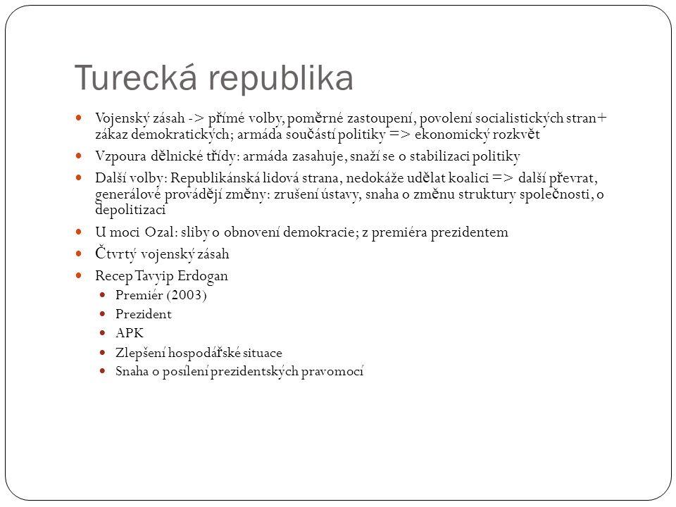 Turecká republika Vojenský zásah -> p ř ímé volby, pom ě rné zastoupení, povolení socialistických stran+ zákaz demokratických; armáda sou č ástí polit