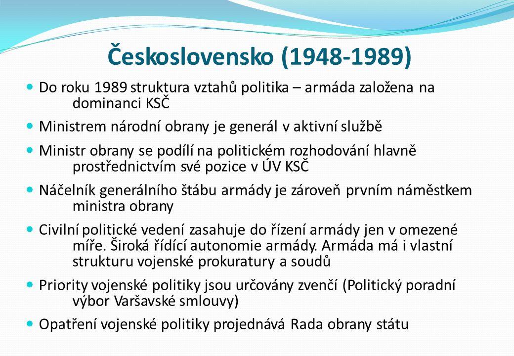 Československo (1948-1989) Do roku 1989 struktura vztahů politika – armáda založena na dominanci KSČ Ministrem národní obrany je generál v aktivní službě Ministr obrany se podílí na politickém rozhodování hlavně prostřednictvím své pozice v ÚV KSČ Náčelník generálního štábu armády je zároveň prvním náměstkem ministra obrany Civilní politické vedení zasahuje do řízení armády jen v omezené míře.