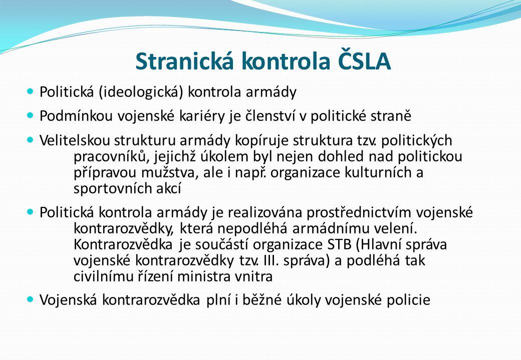 Stranická kontrola ČSLA Politická (ideologická) kontrola armády Podmínkou vojenské kariéry je členství v politické straně Velitelskou strukturu armády kopíruje struktura tzv.