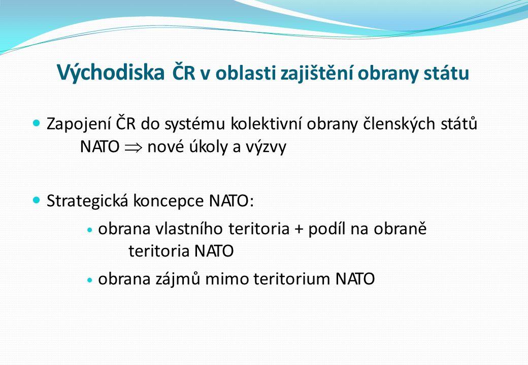 Východiska ČR v oblasti zajištění obrany státu Zapojení ČR do systému kolektivní obrany členských států NATO  nové úkoly a výzvy Strategická koncepce NATO: obrana vlastního teritoria + podíl na obraně teritoria NATO obrana zájmů mimo teritorium NATO