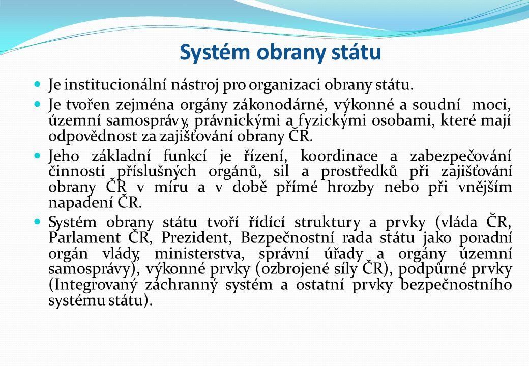 Systém obrany státu Je institucionální nástroj pro organizaci obrany státu.