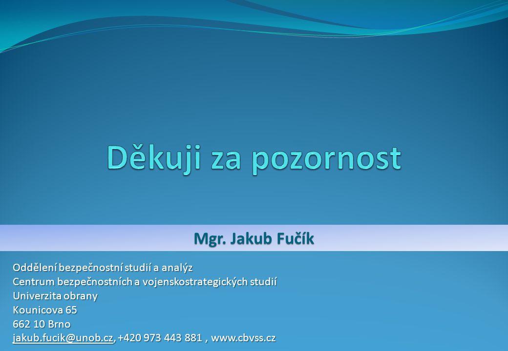 Mgr. Jakub Fučík Oddělení bezpečnostní studií a analýz Centrum bezpečnostních a vojenskostrategických studií Univerzita obrany Kounicova 65 662 10 Brn