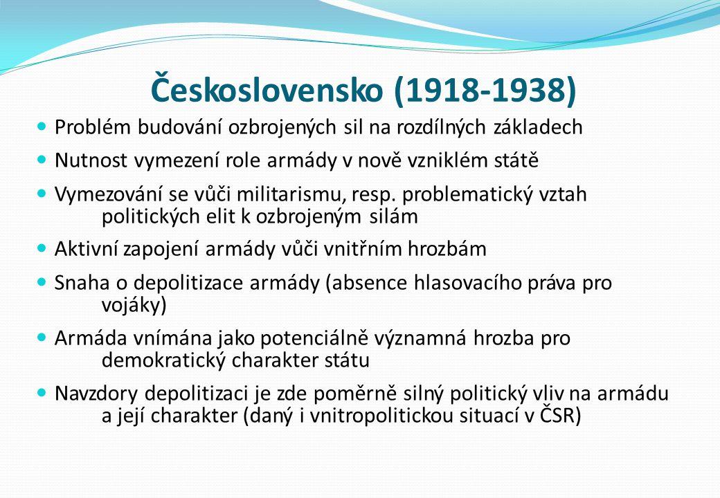 Československo (1918-1938) Problém budování ozbrojených sil na rozdílných základech Nutnost vymezení role armády v nově vzniklém státě Vymezování se vůči militarismu, resp.