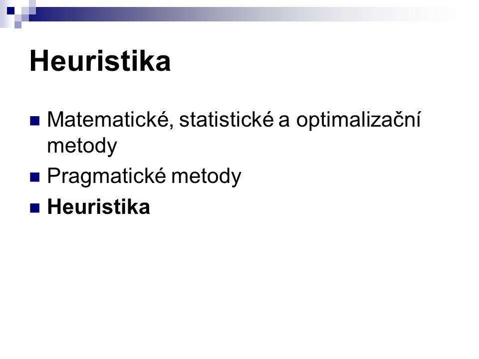 Heuristika Matematické, statistické a optimalizační metody Pragmatické metody Heuristika
