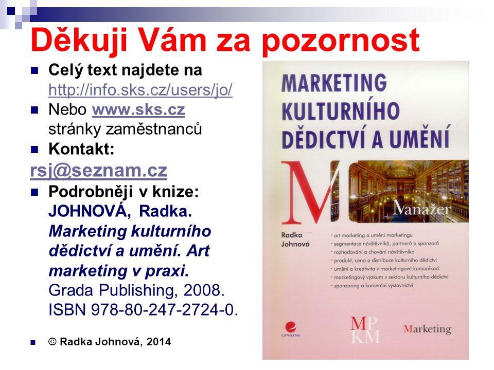 Děkuji Vám za pozornost Celý text najdete na http://info.sks.cz/users/jo/ http://info.sks.cz/users/jo/ Nebo www.sks.cz stránky zaměstnancůwww.sks.cz Kontakt: rsj@seznam.cz Podrobněji v knize: JOHNOVÁ, Radka.