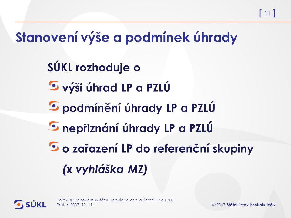[ 11 ] © 2007 Státní ústav kontrolu léčiv Role SÚKL v novém systému regulace cen a úhrad LP a PZLÚ Praha 2007.