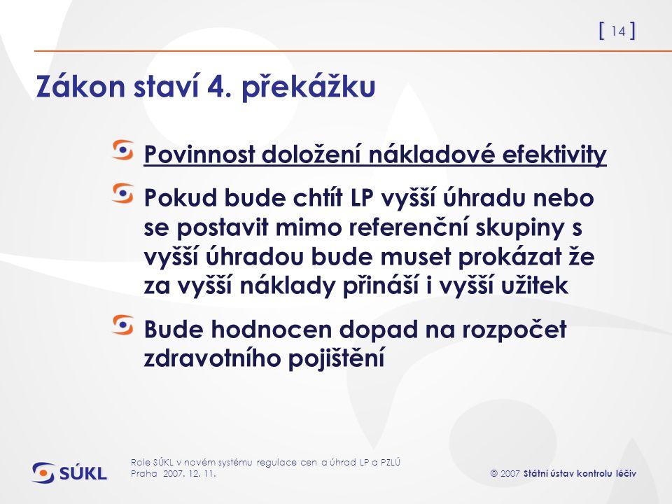 [ 14 ] © 2007 Státní ústav kontrolu léčiv Role SÚKL v novém systému regulace cen a úhrad LP a PZLÚ Praha 2007.
