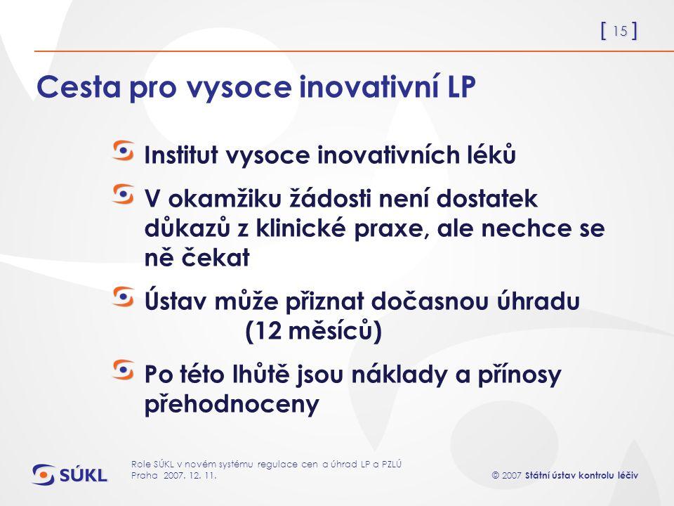 [ 15 ] © 2007 Státní ústav kontrolu léčiv Role SÚKL v novém systému regulace cen a úhrad LP a PZLÚ Praha 2007.