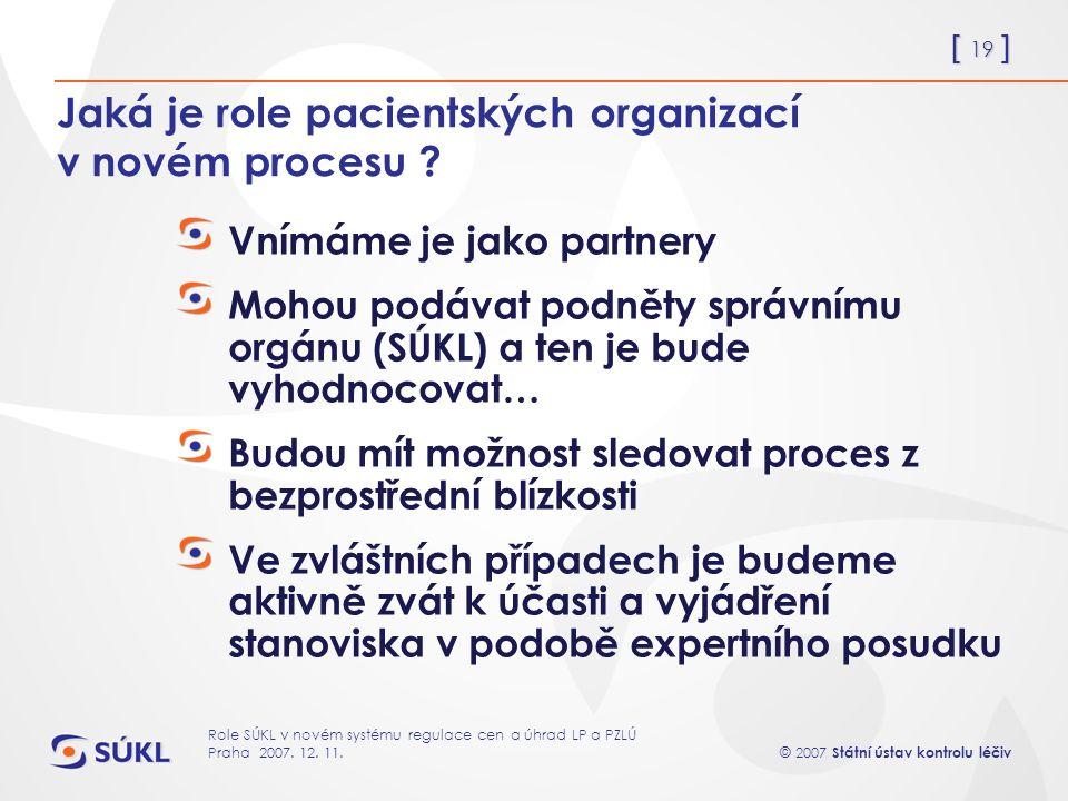[ 19 ] © 2007 Státní ústav kontrolu léčiv Role SÚKL v novém systému regulace cen a úhrad LP a PZLÚ Praha 2007.