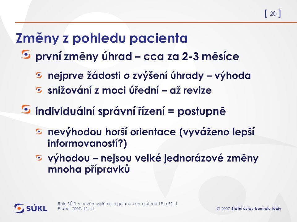 [ 20 ] © 2007 Státní ústav kontrolu léčiv Role SÚKL v novém systému regulace cen a úhrad LP a PZLÚ Praha 2007.