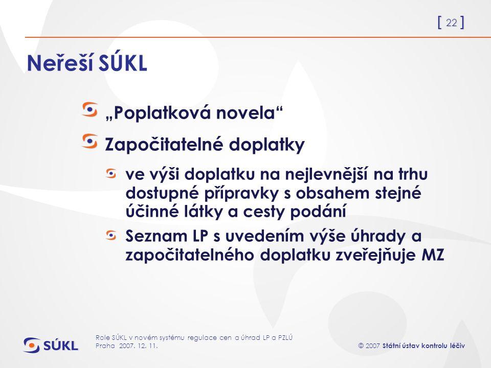 [ 22 ] © 2007 Státní ústav kontrolu léčiv Role SÚKL v novém systému regulace cen a úhrad LP a PZLÚ Praha 2007.