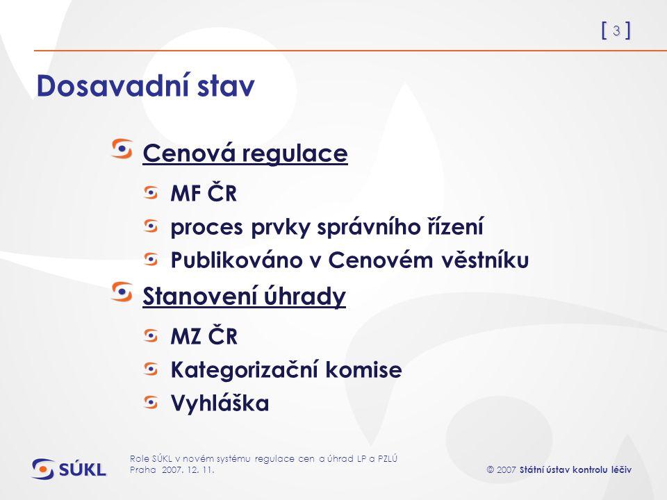 [ 3 ] © 2007 Státní ústav kontrolu léčiv Role SÚKL v novém systému regulace cen a úhrad LP a PZLÚ Praha 2007.