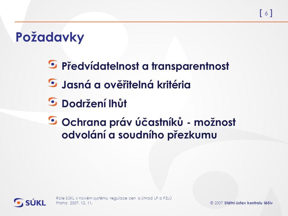 [ 6 ] © 2007 Státní ústav kontrolu léčiv Role SÚKL v novém systému regulace cen a úhrad LP a PZLÚ Praha 2007.