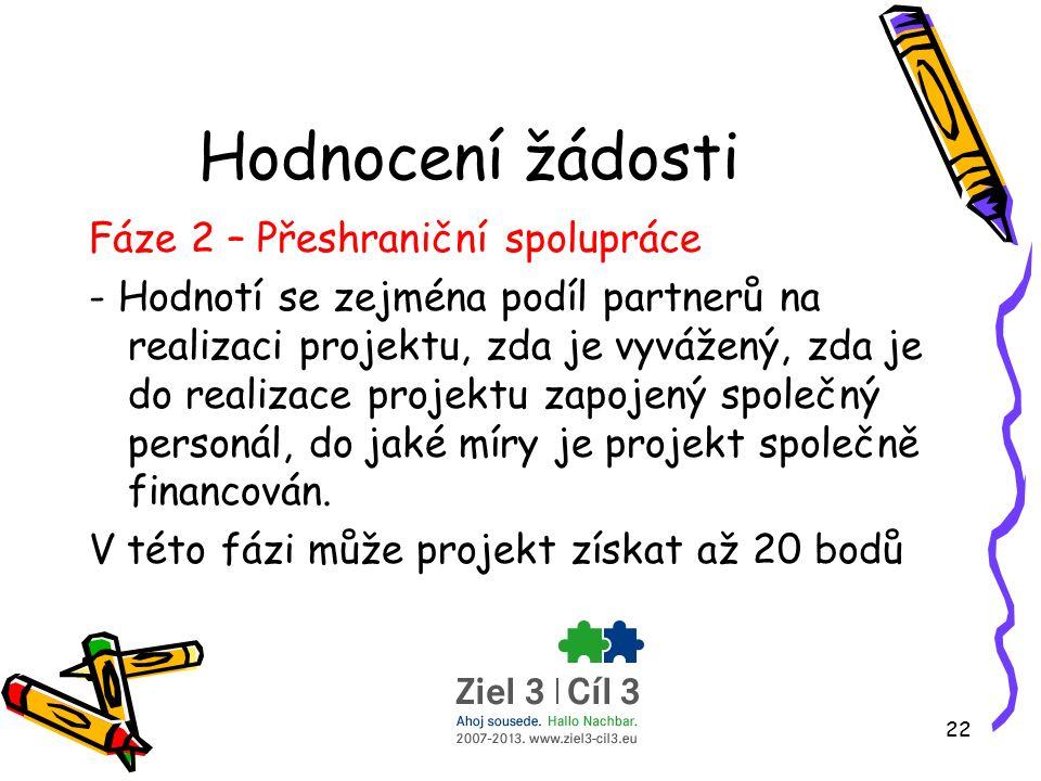 22 Hodnocení žádosti Fáze 2 – Přeshraniční spolupráce - Hodnotí se zejména podíl partnerů na realizaci projektu, zda je vyvážený, zda je do realizace projektu zapojený společný personál, do jaké míry je projekt společně financován.