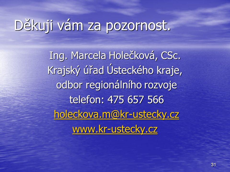 31 Děkuji vám za pozornost.Ing. Marcela Holečková, CSc.