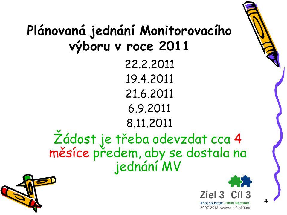 4 Plánovaná jednání Monitorovacího výboru v roce 2011 22.2.2011 19.4.2011 21.6.2011 6.9.2011 8.11.2011 Žádost je třeba odevzdat cca 4 měsíce předem, aby se dostala na jednání MV
