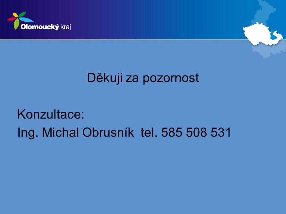 Děkuji za pozornost Konzultace: Ing. Michal Obrusník tel. 585 508 531