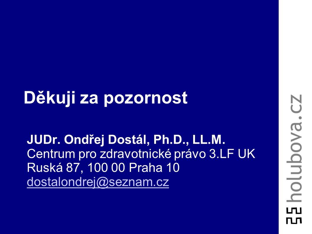 Děkuji za pozornost JUDr. Ondřej Dostál, Ph.D., LL.M. Centrum pro zdravotnické právo 3.LF UK Ruská 87, 100 00 Praha 10 dostalondrej@seznam.cz