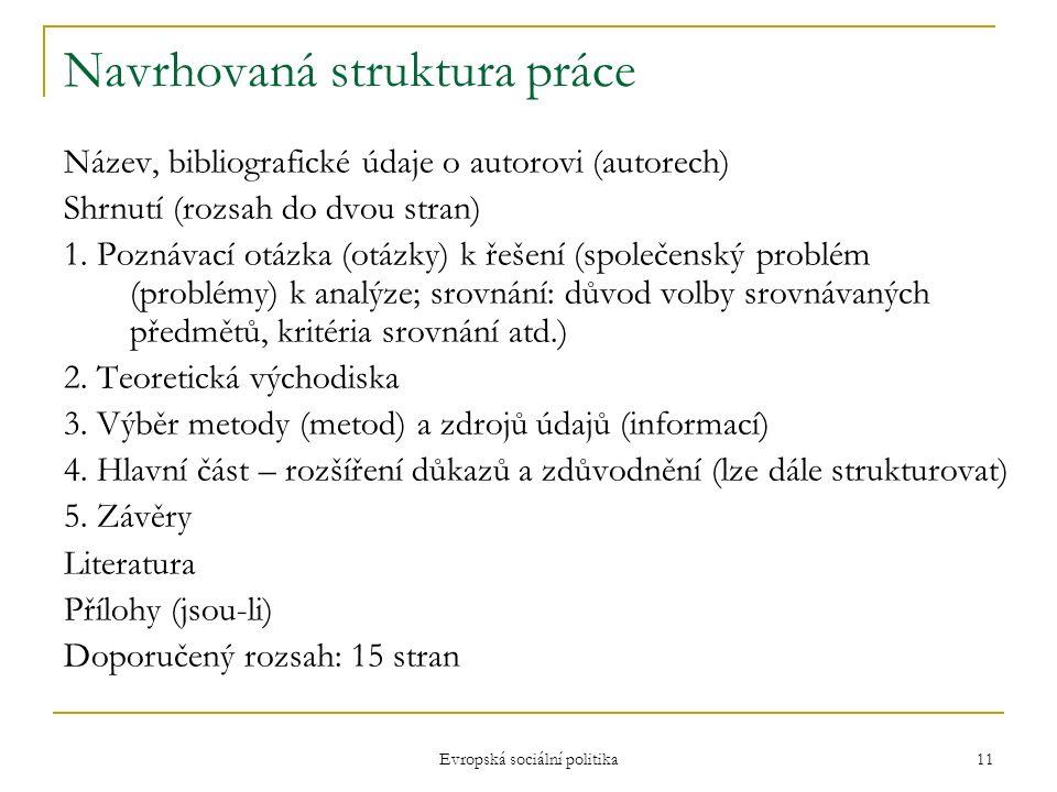 Evropská sociální politika 11 Navrhovaná struktura práce Název, bibliografické údaje o autorovi (autorech) Shrnutí (rozsah do dvou stran) 1.