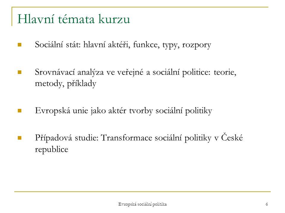 Evropská sociální politika 6 Hlavní témata kurzu Sociální stát: hlavní aktéři, funkce, typy, rozpory Srovnávací analýza ve veřejné a sociální politice: teorie, metody, příklady Evropská unie jako aktér tvorby sociální politiky Případová studie: Transformace sociální politiky v České republice