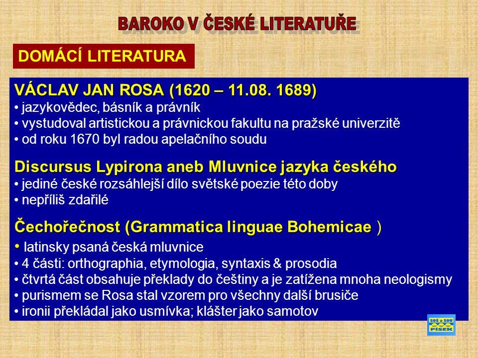 DOMÁCÍ LITERATURA VÁCLAV JAN ROSA (1620 – 11.08.