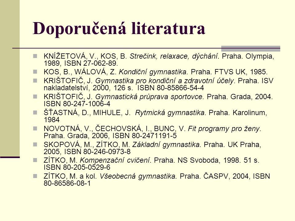 Doporučená literatura KNÍŽETOVÁ, V., KOS, B. Strečink, relaxace, dýchání. Praha. Olympia, 1989, ISBN 27-062-89. KOS, B., WÁLOVÁ, Z. Kondiční gymnastik