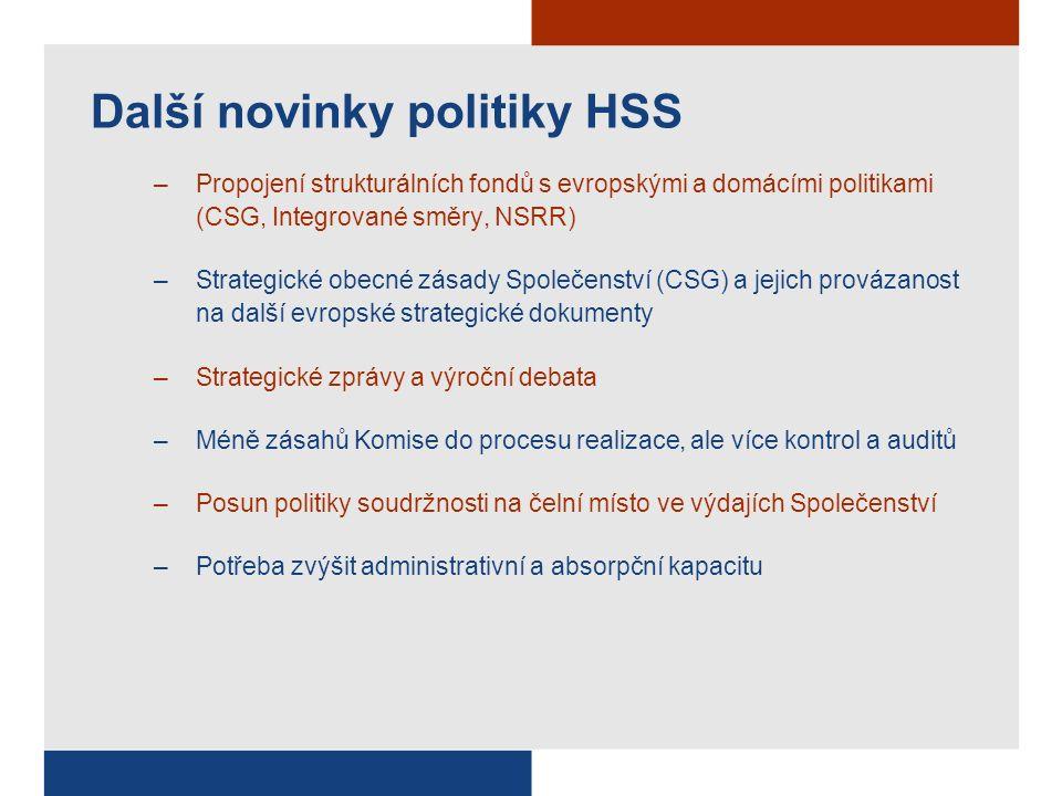 Další novinky politiky HSS –Propojení strukturálních fondů s evropskými a domácími politikami (CSG, Integrované směry, NSRR) –Strategické obecné zásady Společenství (CSG) a jejich provázanost na další evropské strategické dokumenty –Strategické zprávy a výroční debata –Méně zásahů Komise do procesu realizace, ale více kontrol a auditů –Posun politiky soudržnosti na čelní místo ve výdajích Společenství –Potřeba zvýšit administrativní a absorpční kapacitu