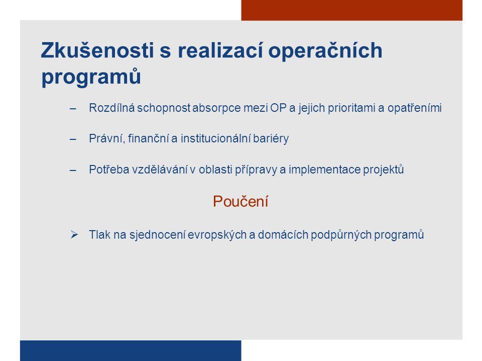 Zkušenosti s realizací operačních programů –Rozdílná schopnost absorpce mezi OP a jejich prioritami a opatřeními –Právní, finanční a institucionální bariéry –Potřeba vzdělávání v oblasti přípravy a implementace projektů Poučení  Tlak na sjednocení evropských a domácích podpůrných programů