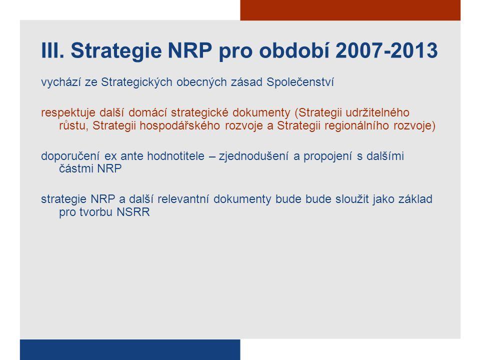 vychází ze Strategických obecných zásad Společenství respektuje další domácí strategické dokumenty (Strategii udržitelného růstu, Strategii hospodářského rozvoje a Strategii regionálního rozvoje) doporučení ex ante hodnotitele – zjednodušení a propojení s dalšími částmi NRP strategie NRP a další relevantní dokumenty bude bude sloužit jako základ pro tvorbu NSRR III.
