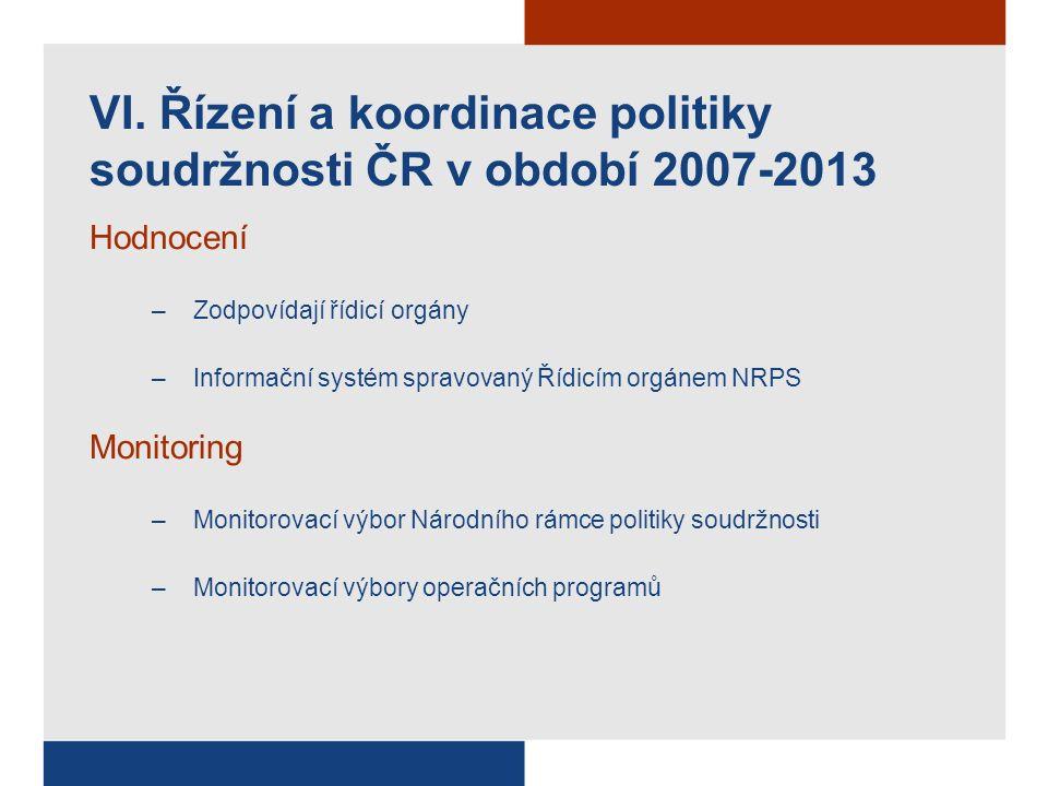 Hodnocení –Zodpovídají řídicí orgány –Informační systém spravovaný Řídicím orgánem NRPS Monitoring –Monitorovací výbor Národního rámce politiky soudržnosti –Monitorovací výbory operačních programů VI.
