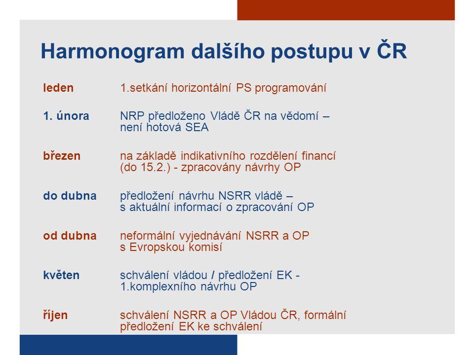 Harmonogram dalšího postupu v ČR leden1.setkání horizontální PS programování 1.