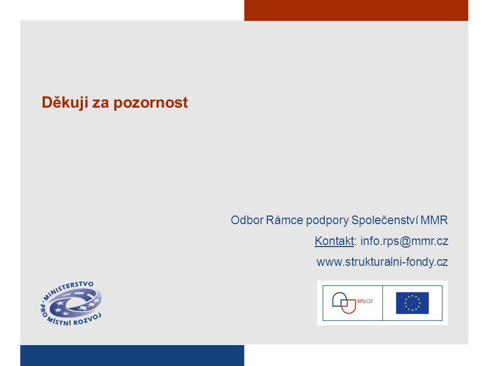 Děkuji za pozornost Odbor Rámce podpory Společenství MMR Kontakt: info.rps@mmr.cz www.strukturalni-fondy.cz