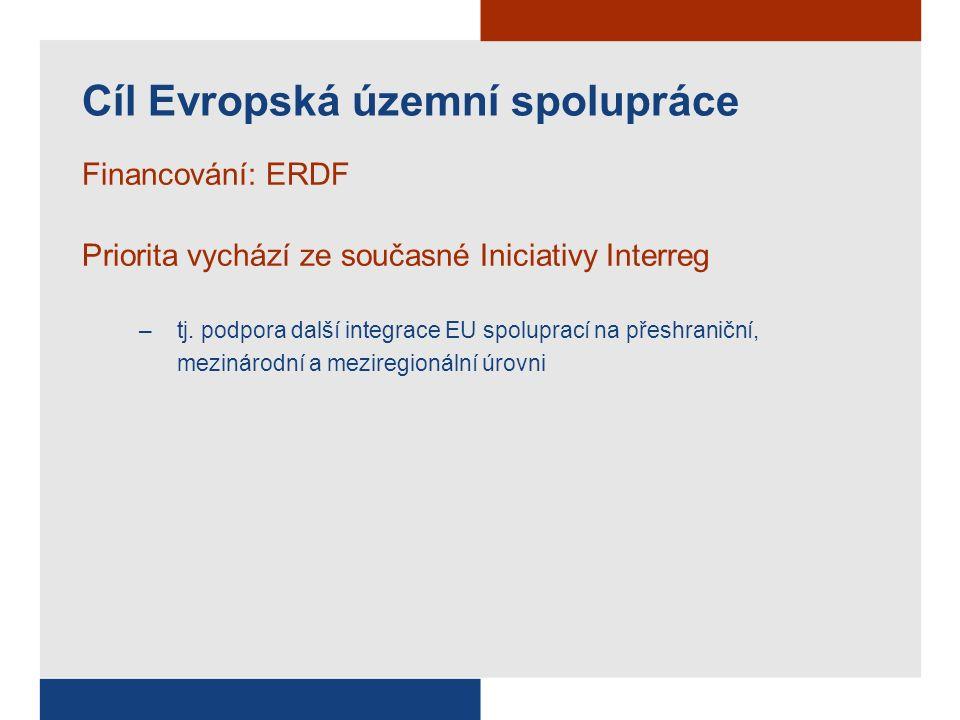 Cíl Konvergence OP Doprava (ERDF + FS) Infrastruktura OP Životní prostředí (ERDF + FS) OP Podnikání a inovace (ERDF) Podnikání OP Výzkum, vývoj a inovace (ERDF) OP RLZ a zaměstnanost (ESF) Lidské zdroje OP Vzdělávání (ESF) 7 x regionální OP (ERDF) Regionální intervence Integrovaný OP (ERDF) OP Technická pomoc (ERDF) Cíl Regionální konkurenceschopnost a zaměstnanost Praha – 2x OP Cíl Evropská územní spolupráce 5 +1 +1 IV.