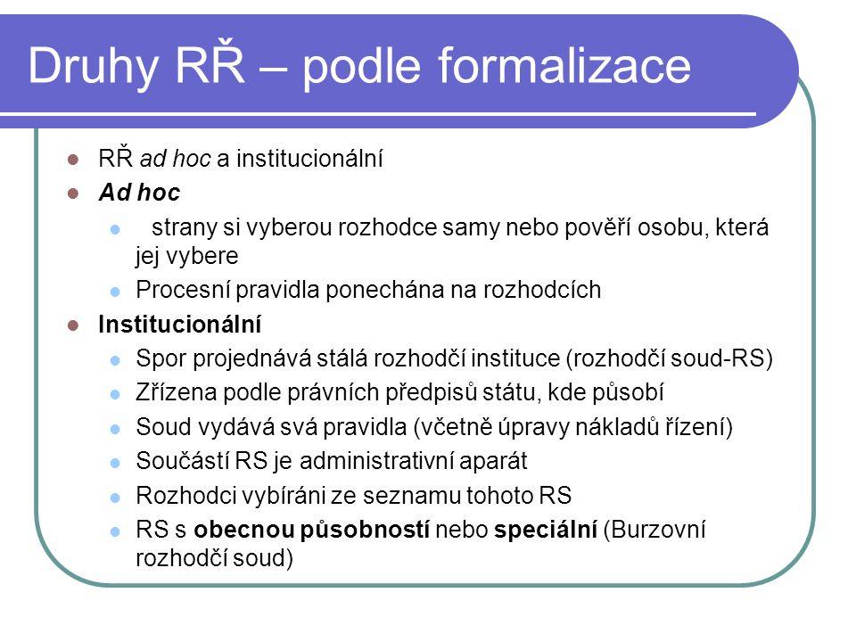 Druhy RŘ – podle formalizace RŘ ad hoc a institucionální Ad hoc strany si vyberou rozhodce samy nebo pověří osobu, která jej vybere Procesní pravidla