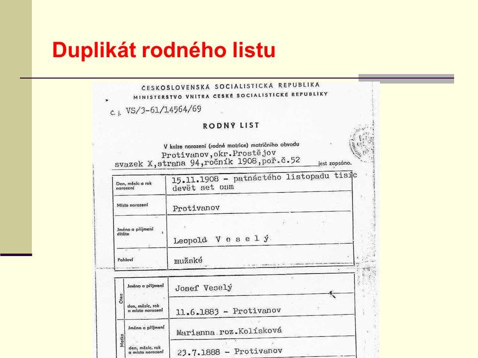Duplikát rodného listu