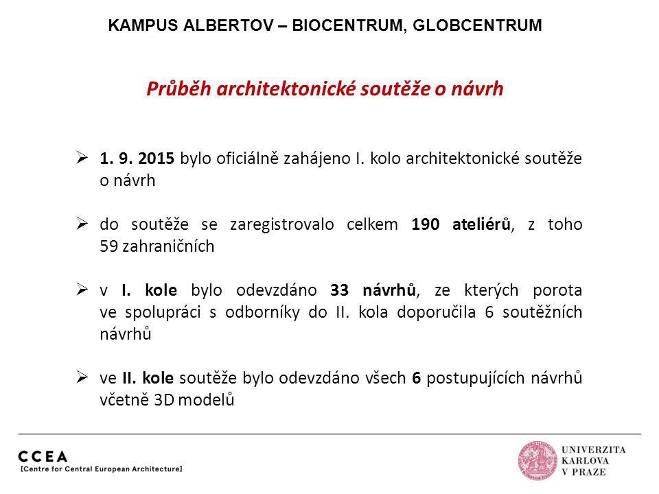 KAMPUS ALBERTOV – BIOCENTRUM, GLOBCENTRUM Průběh architektonické soutěže o návrh  1. 9. 2015 bylo oficiálně zahájeno I. kolo architektonické soutěže