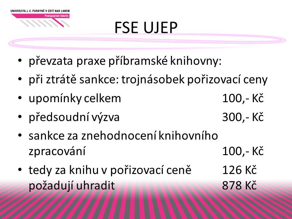 FSE UJEP převzata praxe příbramské knihovny: při ztrátě sankce: trojnásobek pořizovací ceny upomínky celkem100,- Kč předsoudní výzva300,- Kč sankce za znehodnocení knihovního zpracování 100,- Kč tedy za knihu v pořizovací ceně126 Kč požadují uhradit 878 Kč