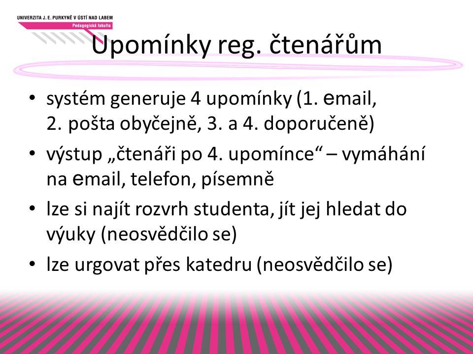 Upomínky reg. čtenářům systém generuje 4 upomínky (1.