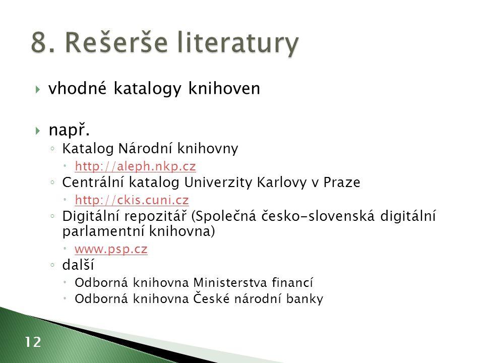  vhodné katalogy knihoven  např.