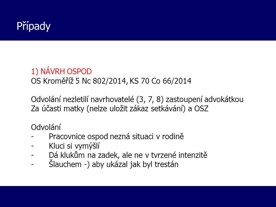 Případy 1) NÁVRH OSPOD OS Kroměříž 5 Nc 802/2014, KS 70 Co 66/2014 Odvolání nezletilí navrhovatelé (3, 7, 8) zastoupení advokátkou Za účasti matky (ne